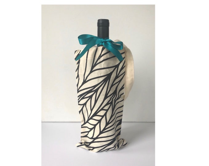 Botanical Print Cotton Canvas Wine Tote -Introductory Price