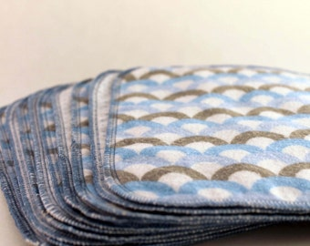 10 Pack Double Sided Flannel Cloth Wipes - Blue Polk Dot and Scale Print - SALE