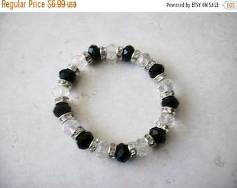 ON SALE Vintage Black Glass Czech Rhinestones Bracelet 8916