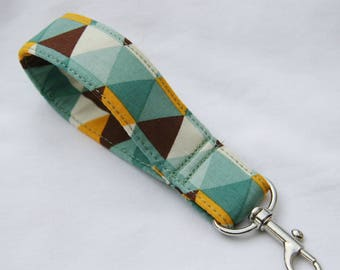 Cut Diamonds Key Fob Blue Brown Yellow Geometric Key Fob
