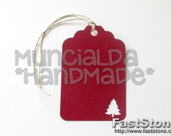 Christmas tree paper tags set of 50 - handmade tags, Happy Holidays, Merry Christmas, Party Favors - choose the color you like!