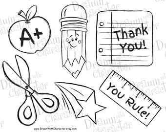School Items for Teacher Sets, Pencil, Ruler, Star, Scissors, Note Pad, Apple Digital Stamp/ KopyKake Image- F9-SCHSET1