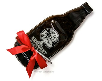 Large Arrogant Bastard Melted Beer Bottle Cheese Plate, Stone Brewery San Diego California, Gift For Boss, Father's Day Present, Unique Gift