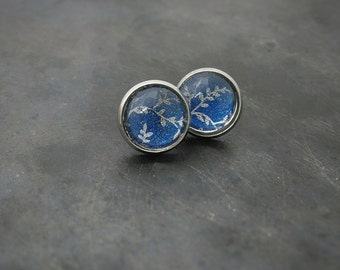 Blue glass stud earrings ~ stainles steel studs for sensitive ears ~ stainless steel hypoallergenic stud earrings ~ blue ear rings