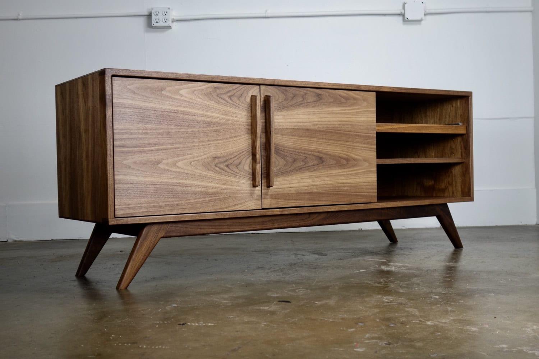 armani tone studio modern walnut kitchen century dark two mid dp amazon tv com finish sliding white with wood drawer door dining baxton cabinet