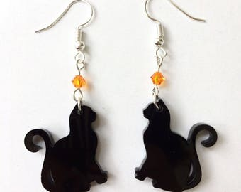 Witch Black Cat Earrings