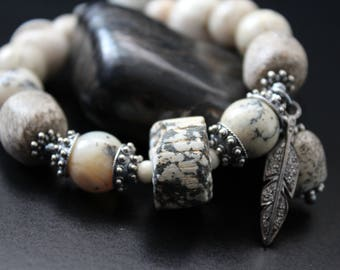 Tribal bracelet - ancient African granite bead bracelet - genuine diamond feather charm bracelet - primitive stacking bracelet - stretch