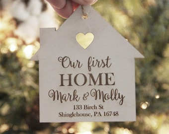 Our First Home Ornament, Christmas Ornament, Personalized Ornament, Couple Christmas Ornament, New House Gift Idea, Engraved Ornament
