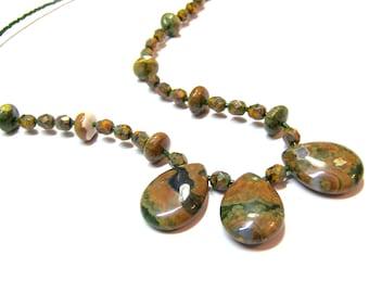 Rhyolite Jasper Bead Pendant Necklace
