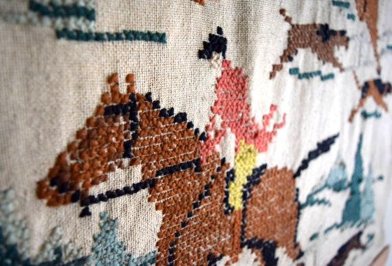 Vintage Woven Wall Hanging / Tapestry / Fiber Art ~ Boho, Southwestern, Equestrian, Simplicity, Natural