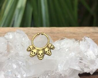 Skull Faux brass septum ring