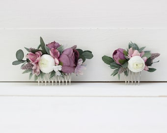 Lilac white eucalyptus flower comb Hair flowers Bridal headpiece Wedding flowers Floral accessories Bridesmaid comb Outdoor Hairpiece