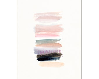 Pastel Blush Abstract. Watercolor Contemporary Home Decor. Pink/Coral Abstract Art Print. Modern Apartment Art.