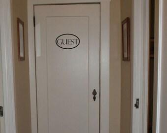 Guest Door Decal - Home Decor - Guest Bedroom - Unique Gift Idea - Guest Room Vinyl Decal
