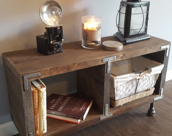 Industrial Media Console - Media Stand - TV Unit - Side table - Reclaimed wood media console - Tv stand - Tv console - Rustic TV Stand -