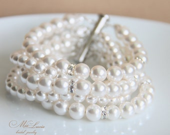 Bridal Jewelry Set, Bridal Bracelet and Bridal Earrings, Pearl Bridal Jewelry Bracelet, Pearl Wedding Jewelry for Bride, b11