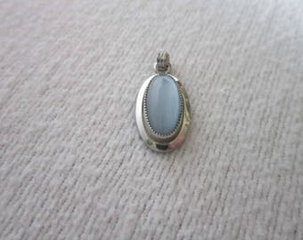 Antique White gold filled & Real Stone Necklace Pendant