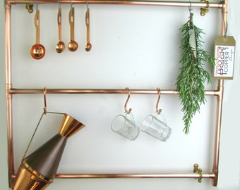 Bespoke, Modern Copper Pot And Pan Rack,