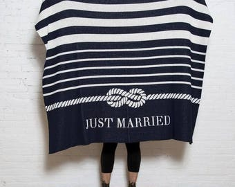 """Eco Tie the Knot """"Just Married"""" Throw- In2green Luxury Wedding Blanket, Recycled Cotton Blend, Knit in the USA"""
