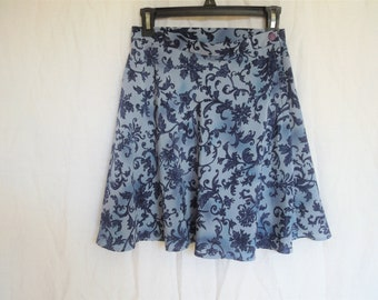 90s Blue Floral All That Jazz Mini Skirt