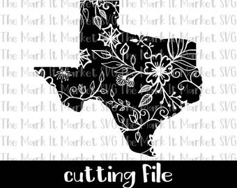 Floral Texas SVG/DXF cutting file