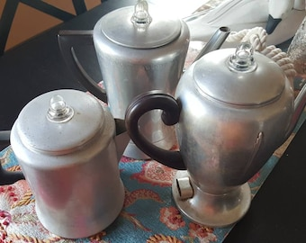 Vintage Collection Mirro Aluminum Coffee Pots...various conditions Great For Display Glass-topped