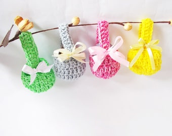 Crochet egg baskets set of 4 Easter decoration Mini Egg Cups Easter Baskets Home Decor Crochet Egg Warmers Ornaments Table Decor