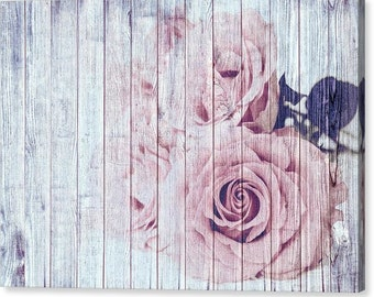 Vintage Shabby Chic Dusky Pink Roses Canvas Print