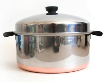 Vintage Revere Ware Dutch Oven, 6 Quart Domed Stock Pot, 6 qt Copper Bottom Soup Stew Pot, Pre-1968 Double Circle