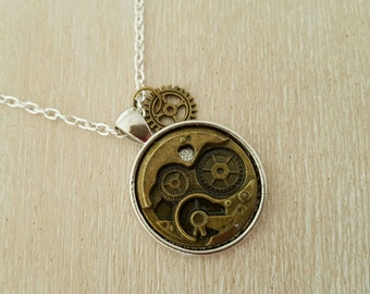 Vintage Style Steampunk Necklace with Pendant Part Clock, Silver Plated Steampunk Necklace