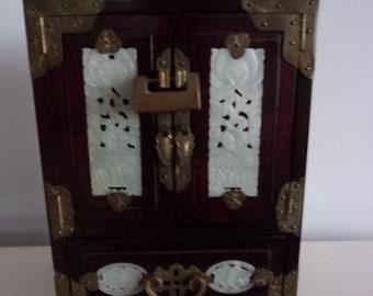Chinese big jewel box with jade decoration