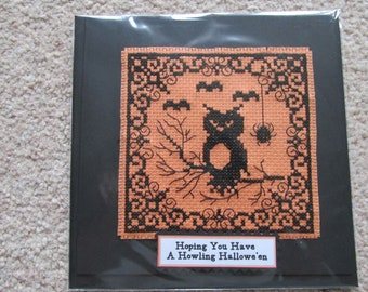 Greetings Card *Made in UK* Blank Occasions Owl and Bats Halloween *Hand Stitched*