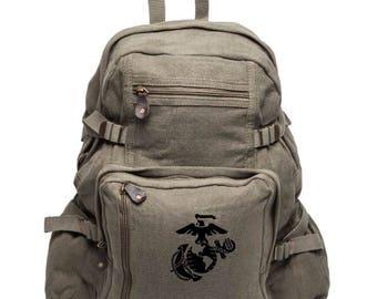 US Marine EGA Eagle Globe and Anchor USMC Sport Heavyweight Canvas Backpack Bag