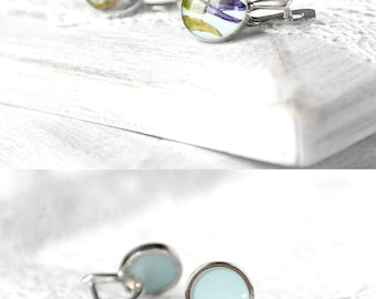 Sky blue earrings silver flowers earrings for gift|for|her Bridal gift for mother Unique gift for sister silver gift statement earrings bell