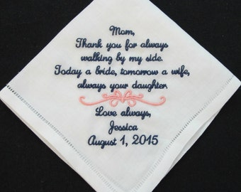 Wedding Handkerchief Embroidered for Mother of the Bride 100% Linen