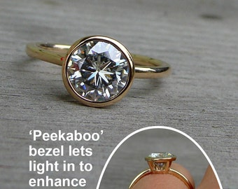 Forever One G-H-I Moissanite and Recycled 14k Yellow Gold Solitaire Alternative Engagement Ring with Peekaboo Bezel Setting, Made to Order
