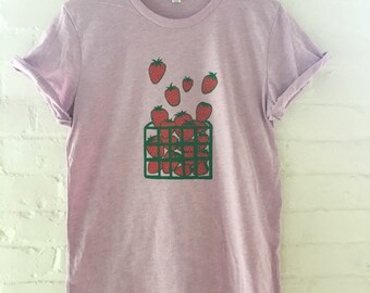 Strawberry Shirt, Foodie Gift, Gardening Gift, Screen Printed T Shirt, Soft Style Tee