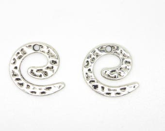 Charm, spiral, silver, hammered, ethnic