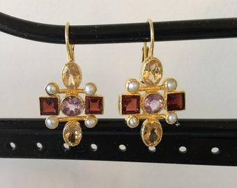 Citrine, garnet, amethyst and pearl earring