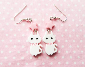 White Cat Earrings / Cute Earrings / Kawaii Earrings / Animal Earrings / Kawaii / Cute