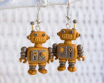 Halloween Clay Earrings, Polymer Clay Robot Earrings, Handmade Clay Earrings, Steampunk Robot Earrings, Science and Technology Earrings,