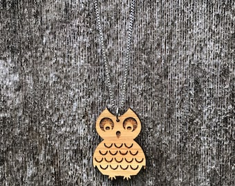 Laser cut mid century Owl bamboo necklace