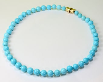 """10mm Sleeping Beauty Turquoise 21"""" necklace 18k Solid Yellow Gold Clasp"""