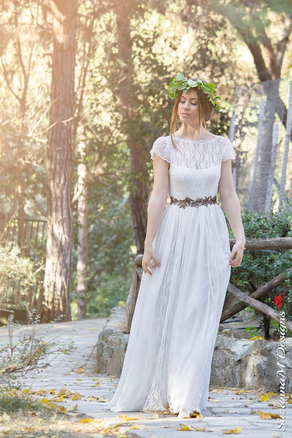 Wedding Boho Dress Gown Dress Wedding SuzannaM Wedding Long by Bohemian Bridal Wedding Ivory Dress Lace Dress Dress Lace Dress Adalina wEqAAxI