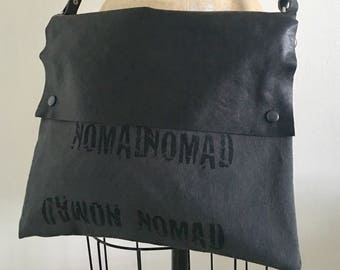 Nomad , Cross-Body Bag, Black Leather, Printed Canvas, Edgy Handbags, Unique Fashion Accessories, Leather Strap Purse,