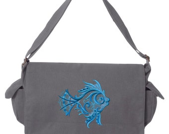 Aquarius - Seashell Embroidered Canvas Cotton Messenger Bag