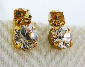 Vintage .. Rhinestone Earrings, Czech, Stud, Pierced, Pale Pink, Pale Cognac, Wedding, Vintage Bride