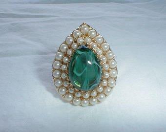 kjl ring seed pearls green givre glass sz.8 ring gold statement large green glass dome ring elegant ring kjl
