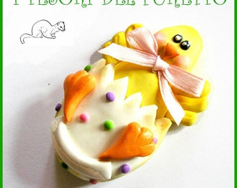 "Easter brooch ""chick egg"" Fimo grouper Press Kawaii gift idea customizable with name Christmas jewelry girl Woman"