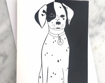 Danny Dalmatian Dog Greeting Card, black and white with a blank interior, illustrated design